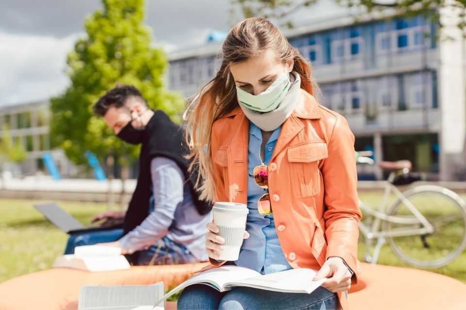 Student wearing face mask